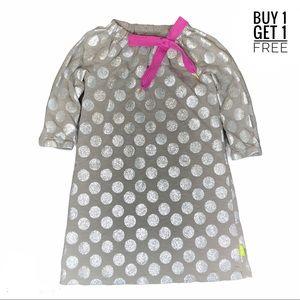 Morgan & Milo Girls Grey & Silver Shoelace Dress 6